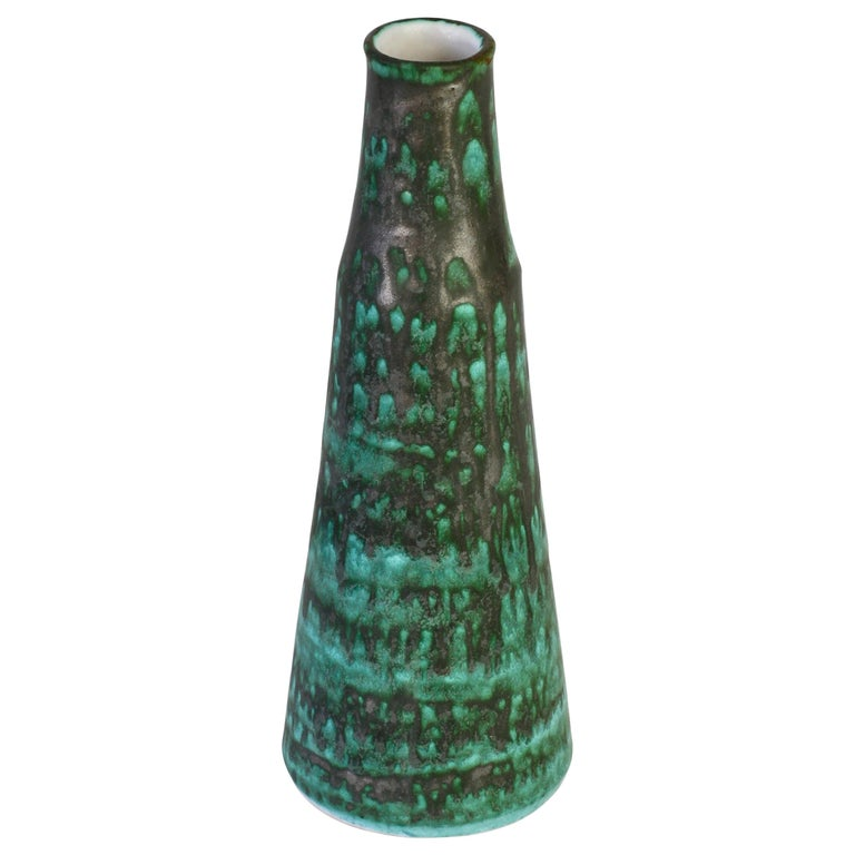 Vintage Midcentury Green and Graphite Glazed Vase by Waechtersbach, 1950s For Sale