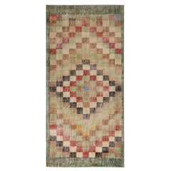 Vintage Midcentury Green and Red Geometric Wool Rug with Earth Tone Accents