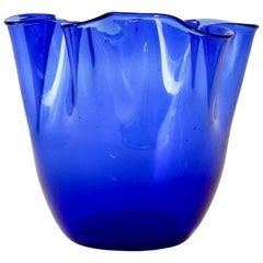 Vintage Midcentury Hand Blown Venini Handkerchief Art Glass Vase, Murano, Italy