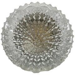 Vintage Midcentury Ice Crystal Textured Flush Mount, 1970s
