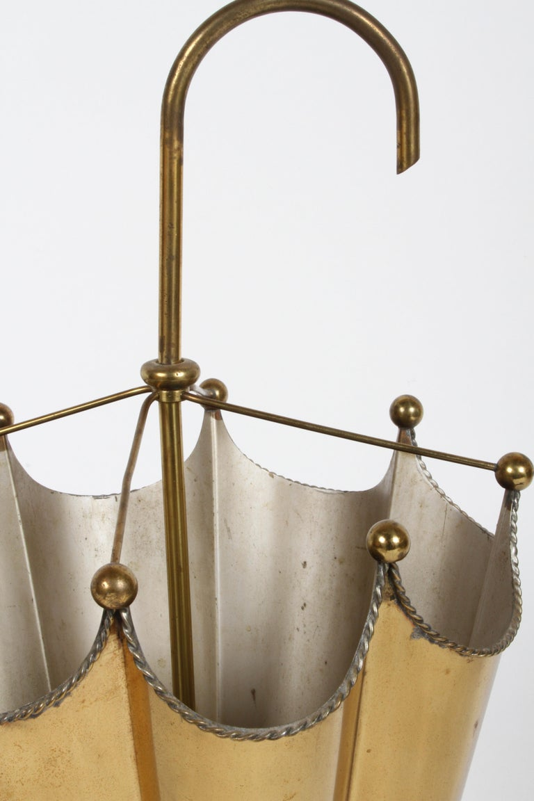 Vintage Mid-Century Italian Brass Umbrella Form Umbrella Stand For Sale 5