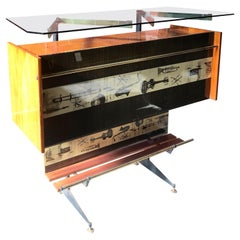 "Vintage Midcentury Italian ""Jazz"" Bar Cabinet and Display Case, 1950s"