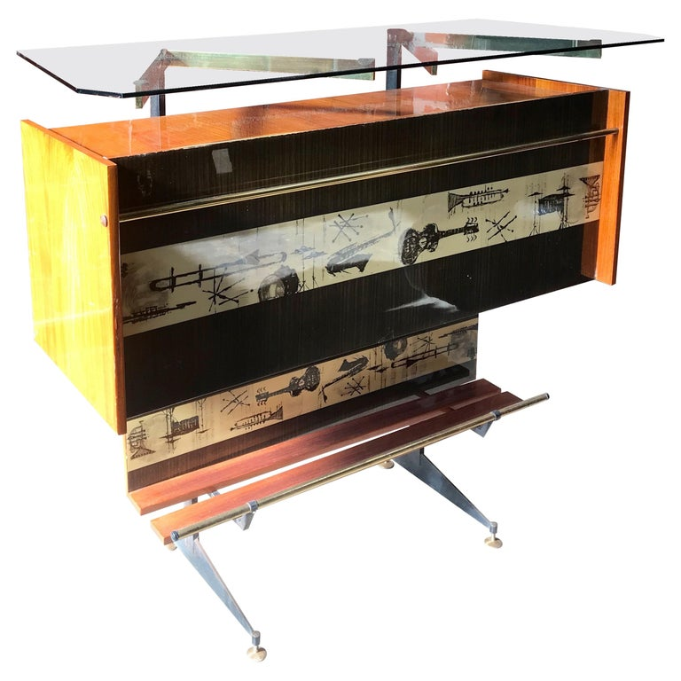 "Vintage Midcentury Italian ""Jazz"" Bar Cabinet and Display Case, 1950s For Sale"