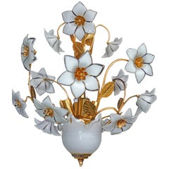 Vintage Midcentury Italian Murano Flower Bouquet Art Glass Gilt Brass Chandelier