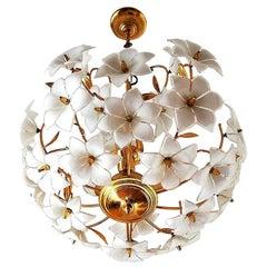 Vintage Midcentury Italian Murano Flower Venini Art Glass Gilt Brass Chandelier