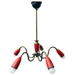 Vintage Jahrhundertmitte Italienischer Roter Spinnen Kronleuchter. 1950er Jahre