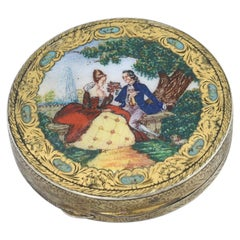 Vintage Midcentury Italian Silver and Enamel Scene Compact Box