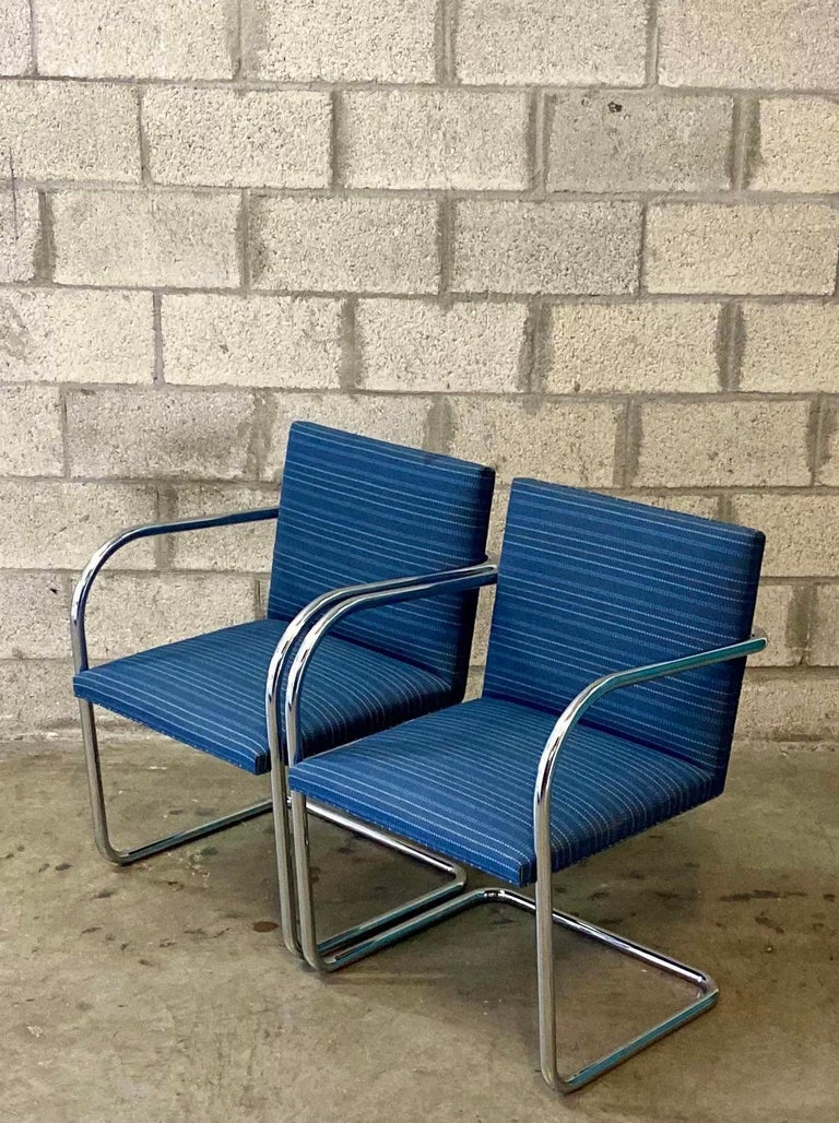 Late 20th Century Vintage Midcentury Knoll Tubular BRNO Chairs, a Pair For Sale