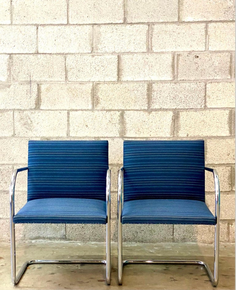 Vintage Midcentury Knoll Tubular BRNO Chairs, a Pair For Sale 2
