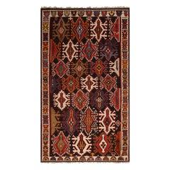 Vintage Midcentury Kuba Multi-Color Tribal Wool Kilim Rug