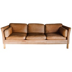 Vintage Midcentury Leather Sofa from Denmark, circa 1970