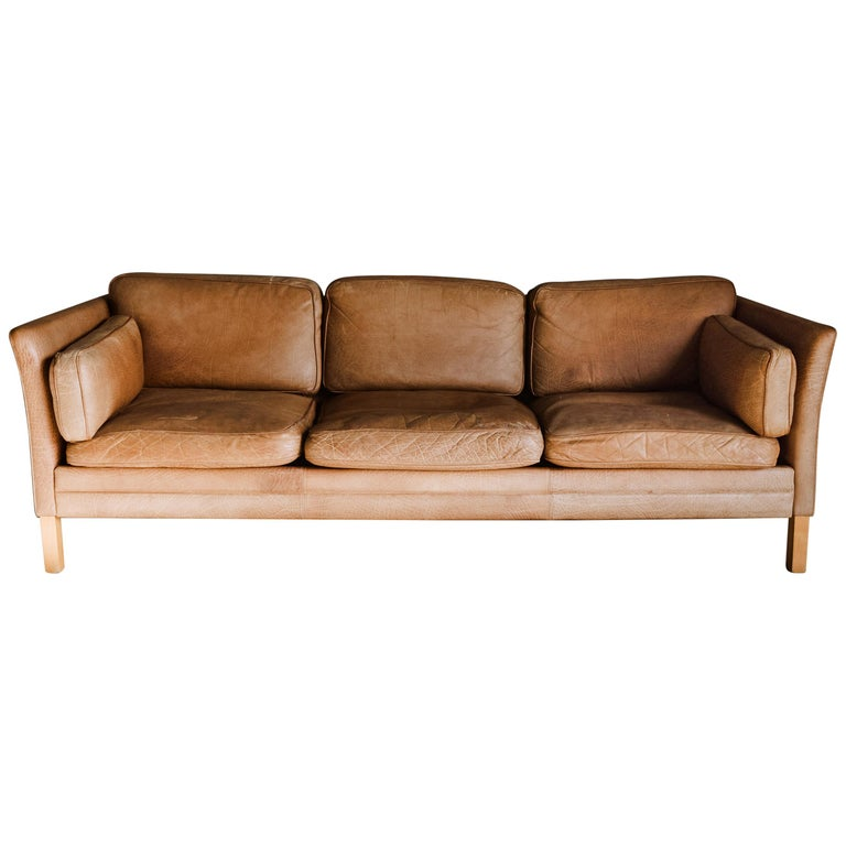 Vintage Midcentury Leather Sofa from Denmark, circa 1970 For Sale
