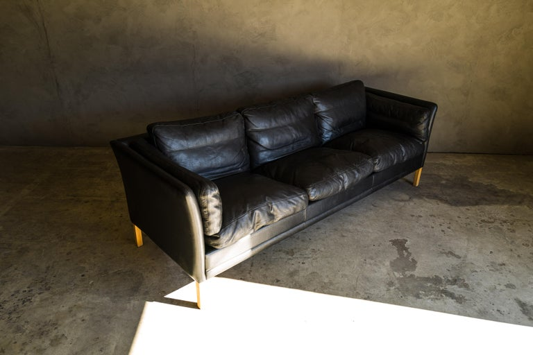 European Vintage Midcentury Leather Sofa from Denmark, circa 1980 For Sale
