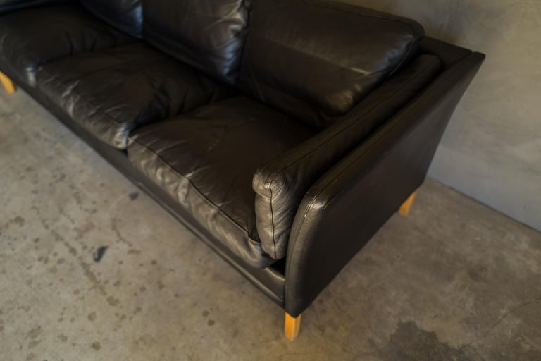 Late 20th Century Vintage Midcentury Leather Sofa from Denmark, circa 1980 For Sale