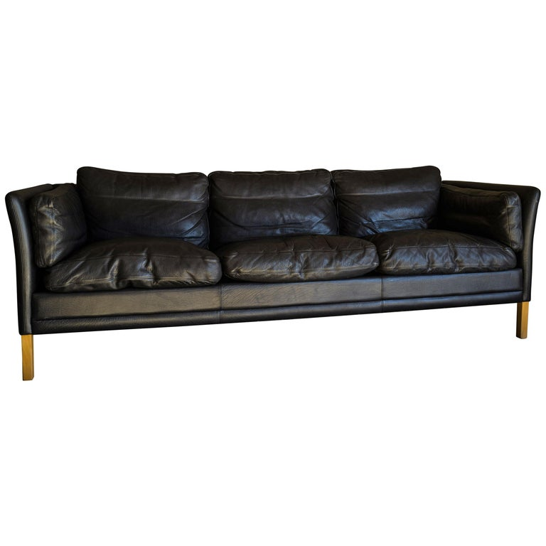 Vintage Midcentury Leather Sofa from Denmark, circa 1980 For Sale