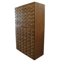 Vintage Midcentury Library 90-Drawer Oak Card File Cabinet