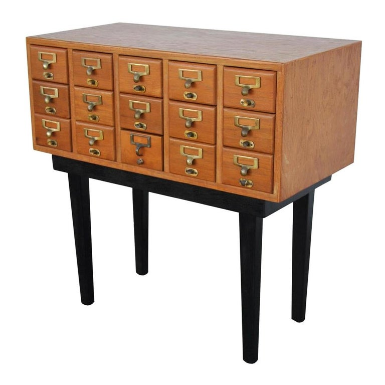 Vintage Midcentury Library Card Catalogue Console For Sale