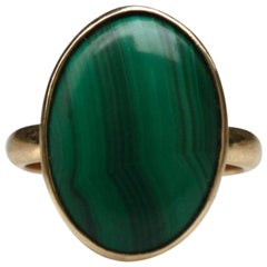 Vintage Midcentury Malachite Oval 14 Karat Gold Solitaire Cocktail Ring