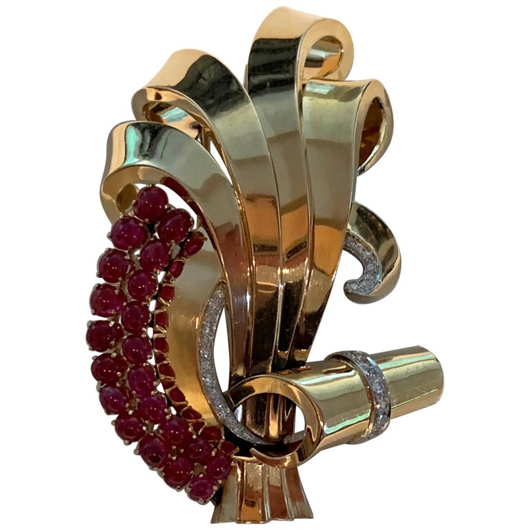 Vintage Midcentury Massive Cabochon Ruby Diamond Brooch For Sale