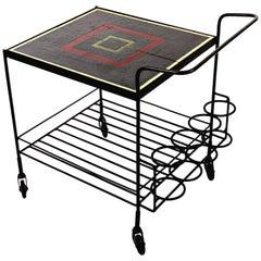 Vintage Midcentury Metal and Tile Bar Cart