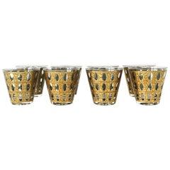 Vintage Midcentury Modern 22-Karat Gold Rocks Cocktail Glasses, Set of 8