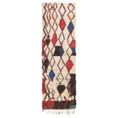 Vintage Midcentury Moroccan Beige Red and Blue Wool Rug