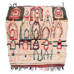 Vintage Midcentury Moroccan Berber Beige and Red Wool Rug