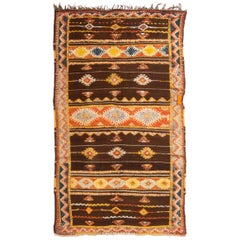 Vintage Midcentury Moroccan Berber Transitional Brown and Yellow Wool Rug