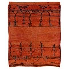 Vintage Midcentury Moroccan Orange and Black Wool Rug with Tribal Design