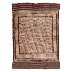 Vintage Midcentury Moroccan Transitional Brown and Beige Wool Kilim Rug