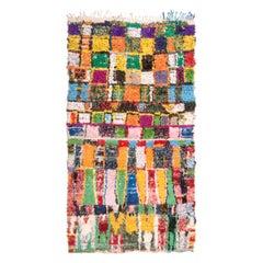 Vintage Midcentury Moroccan Transitional Multicolor Fabric Rug
