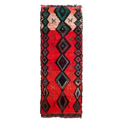 Vintage Midcentury Moroccan Transitional Red and Black Wool Rug