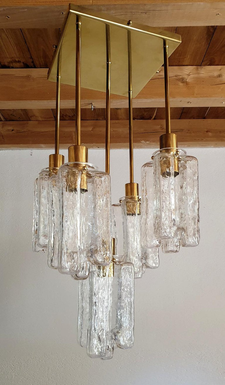 Mid-Century Modern Vintage Midcentury Murano Glass and Brass Flush Mount Kalmar Style, 2 Available For Sale
