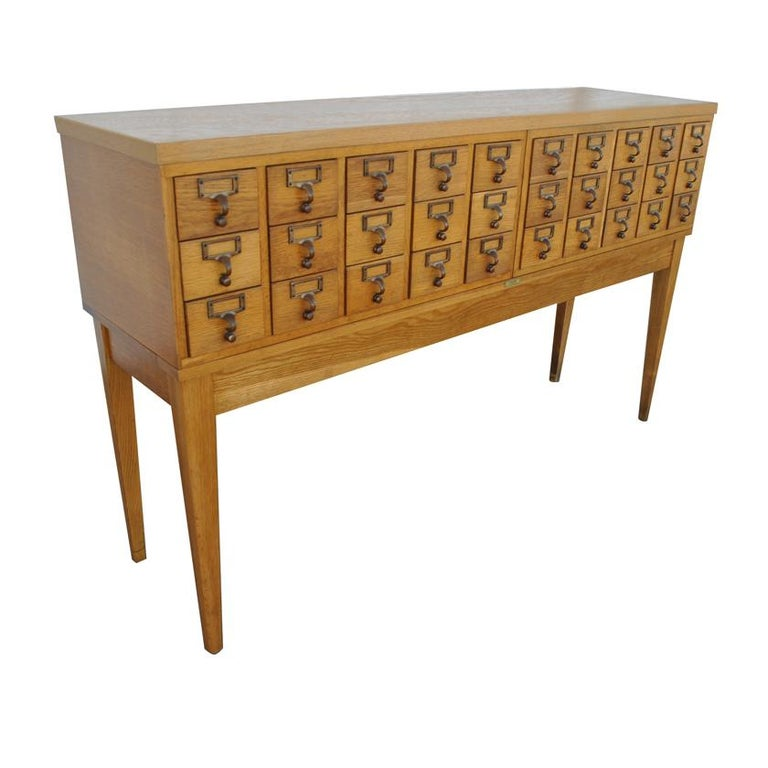 Vintage Midcentury Oak Library Card Catalogue Console By Gaylord Co