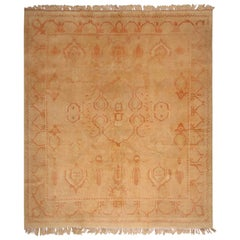 Vintage Midcentury Oushak Beige and Orange Wool Rug