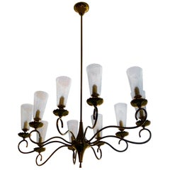 Vintage Midcentury Oval Brass and Murano Glass Chandelier, circa 1950s