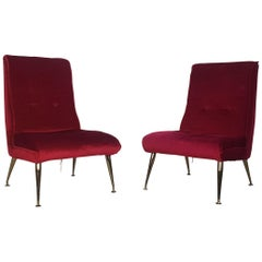 Vintage Midcentury Pair of 1950s Red Velvet and Brass Cocktail Chairs