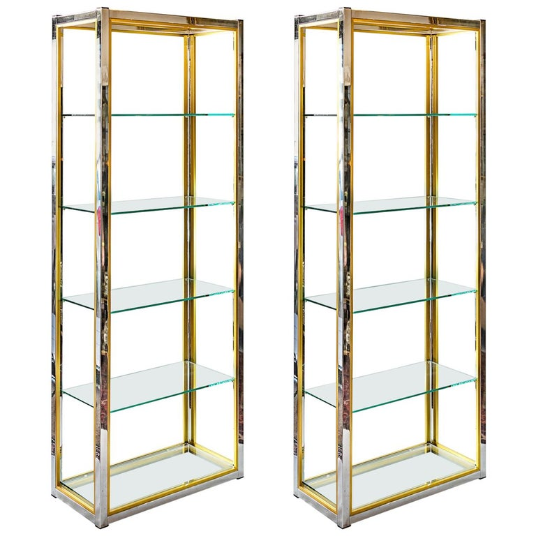 Vintage Midcentury Pair of Italian Shelves by Renato Zevi, circa 1970