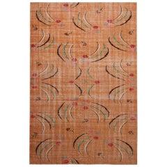 Vintage Midcentury Peach Pink and Green Geometric Wool Rug