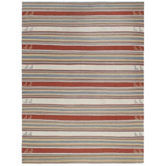 Vintage Midcentury Persian G Hashghaei Shiraz Tribal Flat-Weave Rug