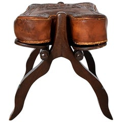 Vintage Midcentury Peruvian Embossed Saddle Leather Ottoman, 1960s