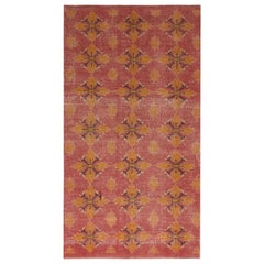 Vintage Midcentury Pink and Gold Wool Rug with Black Accents