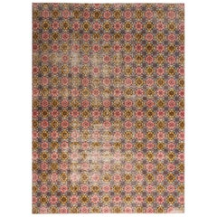 Vintage Midcentury Pink and Golden-Yellow Geometric-Floral Wool Rug