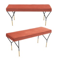 Vintage Midcentury Pink Benches Attributed to Carlo di Carli