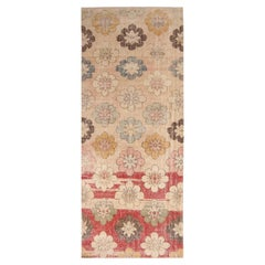Vintage Midcentury Red and Cream Beige Wool Rug with Multi-Color Floral Accents