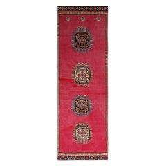 Vintage Midcentury Red and Tan-Gold Medallion Style Wool Rug