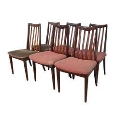 Vintage Mid-Century Rosenholz Stühle mit Lamellenrücken