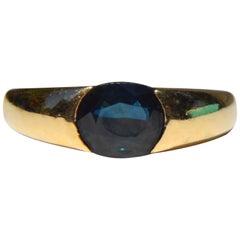 Vintage Midcentury Sapphire 1 Carat 14 Karat Gold Oval Midcentury Ring