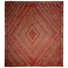 Vintage Midcentury Sarkisla Diamond Red Blue and Orange Wool Kilim Rug