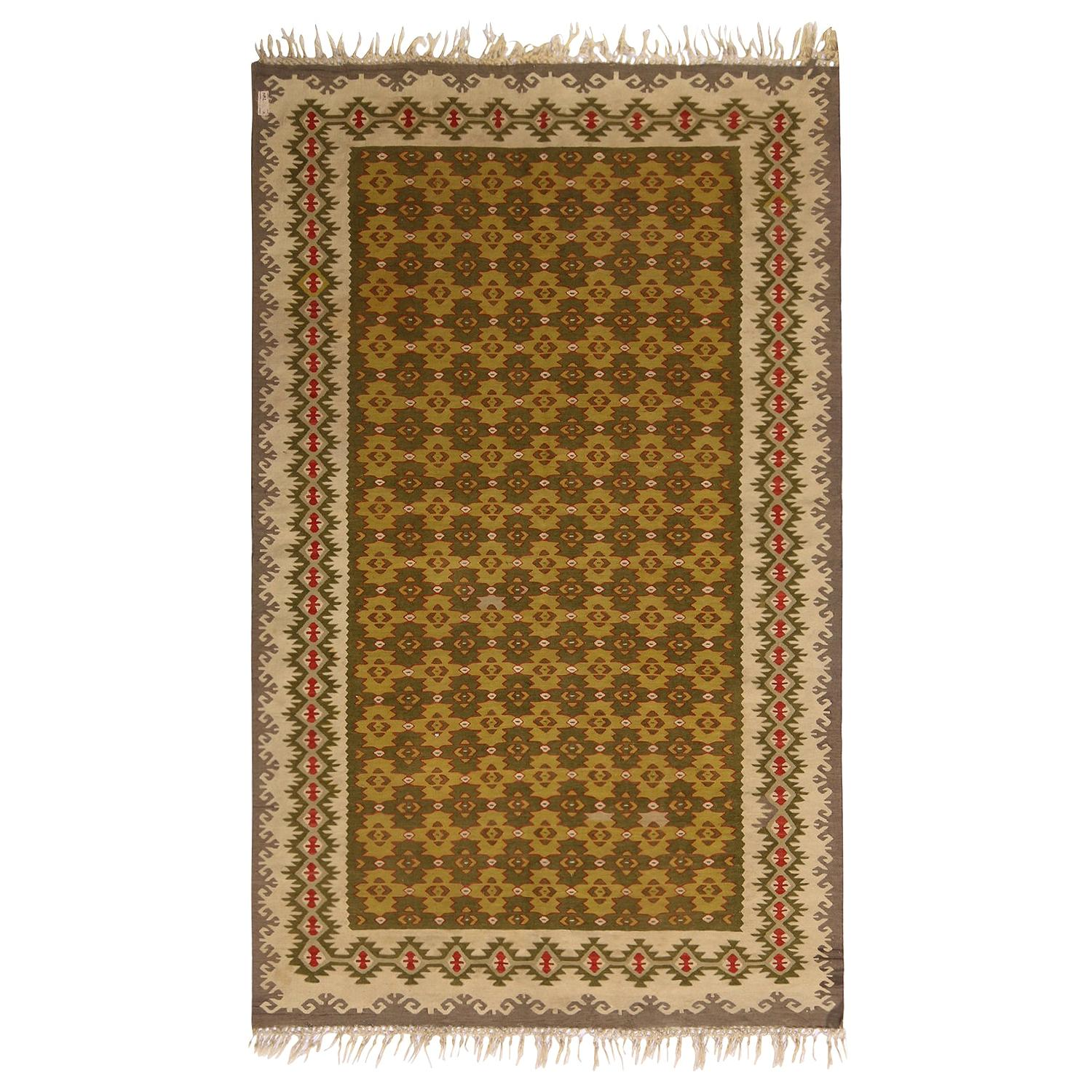 Vintage Midcentury Sarkoy Geometric Beige-Brown and Green Wool Kilim Rug